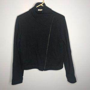 Eileen Fisher gray wool moto zip jacket size XS